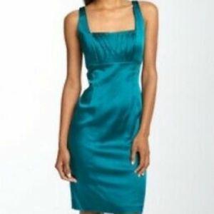 Calvin Klein NWT Dress Aqua Teal Blue Knee Satin